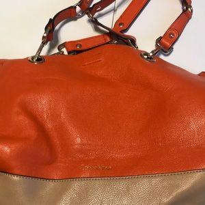 Calvin Klein orange and beige bag
